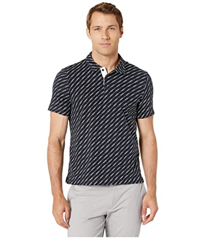 Perry Ellis Pima Cotton Printed Stripe Polo Shirt (Dark Sapphire) Men