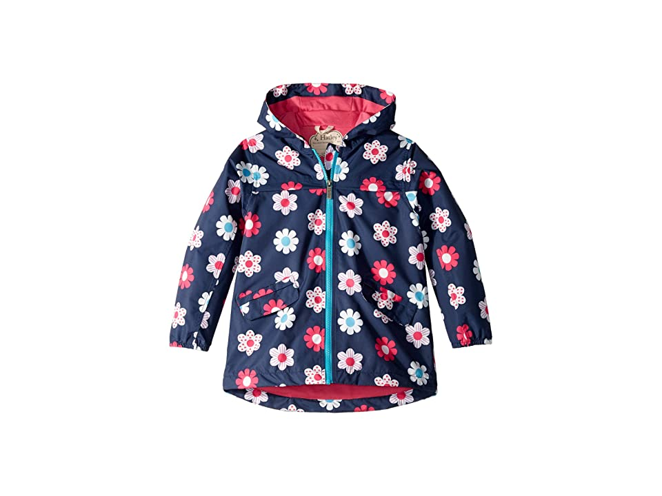 Hatley Kids Spring Flowers Microfiber Rain Jacket (Toddler/Little Kids/Big Kids) (Blue) Girl
