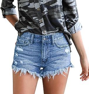 De feuilles Damen Hose kurz aus Denim Short Sommer Jeansshorts Teenager M/ädchen Denim-Hose Jeans Zerrissen Roher Saum Jeanshosen