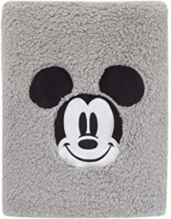 Disney Mickey Mouse Super Soft Plush Sherpa Baby Blanket with Applique, Grey/Black/White