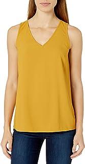 Lark & Ro Cuello en V sin Mangas. Camisa para Mujer
