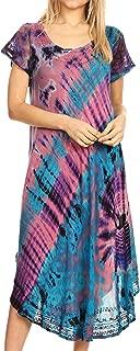 Sakkas Sofi Women's Short Sleeve Embroidered Tie Dye Caftan Tank Dress/Cover Up