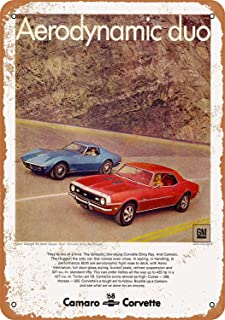 Mariner 1968 Chevrolet Camaro SS and Corvette Sting Ray Aluminum Funny Aluminum Funny Art Decor Movie Poster Vintage Tin Sign Dorm Game Room 12 X 8 in