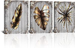 3 Piece Vintage Kitchen Canvas Wall Art Metal Leaf Artwork Picture Tropical Plant Painting Gold Gorgeous Monstera Leaf Poster Decor for Living Room Bedroom Nursery Office Ready to Hang 12