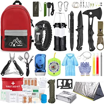 Emergency Survival Kit, 151 Pcs Survival Gear First Aid Kit, Outdoor Trauma Bag with Tactical Flashlight Knife Pliers Pen Blanket Bracelets Compass for Camping Earthquake or Adventures
