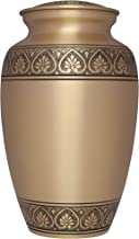 Golden Funeral Urn by Liliane Memorials- Cremation Urn for Human Ashes - Hand Made in Brass -Suitable for Cemetery Burial or Niche - Large Size fits remains of Adults up to 200 lbs - Corinthian Bronze