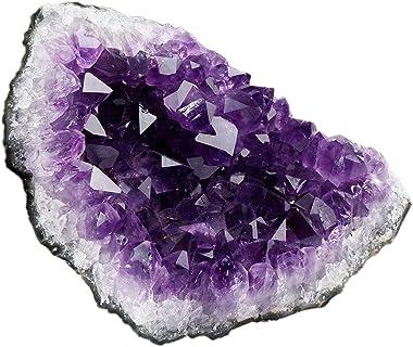 SUNYIK Natural Amethyst Quartz Crystal Cluster,Druzy Geode Specimen Gemstone Sculpture Sphere(0.5-0.6lb)