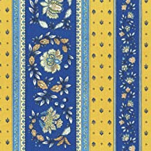 Provençal stripe floral wreath fabric (Sweden Meets Provence (Blues & Yellows)) - Luxury French 100% Cotton printed fabric - 63 inches wide | Per yard length increment