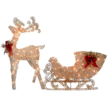 National Tree Company lit Artificial Christmas Décor Includes Pre-strung LED Lights and Ground Stakes - Reindeer and Santa's Sleigh - 4 ft