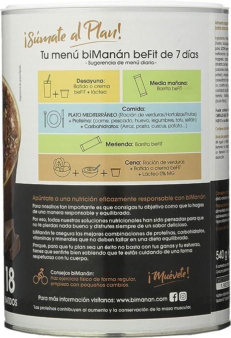 BiManán beFIT - Batido de Proteína Sabor Capuccino, para Tonificar tu Masa Muscular - 540g, 18 Raciones de 30g