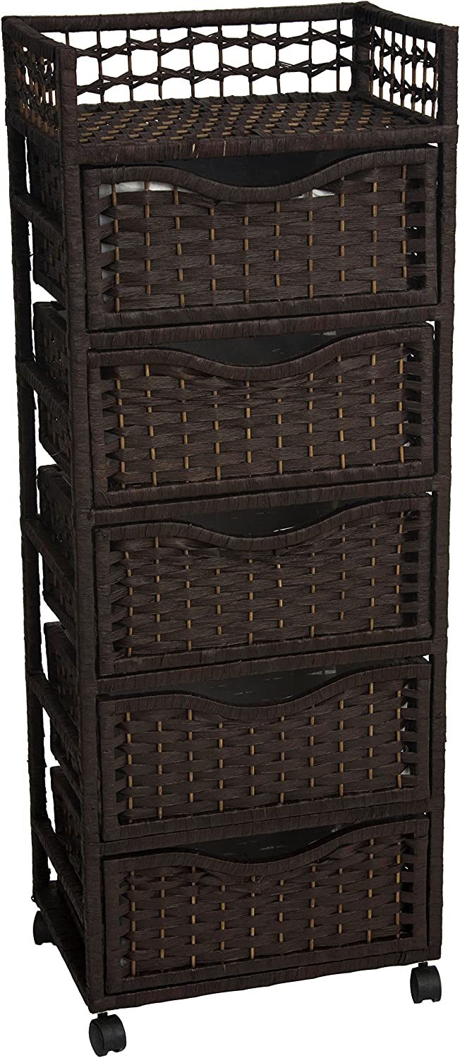Oriental Furniture Excellent Quality Rattan Look Extra Tall Nightstand End Table, 46-Inch Natural Fiber Chest of Drawers on Wheels, Mocha