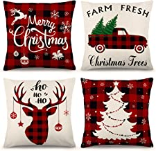 YGEOMER Christmas Pillow Covers 18×18 Inch Set of 4 Farmhouse Black and Red Buffalo Plaid Pillow Covers Holiday Rustic Lin...
