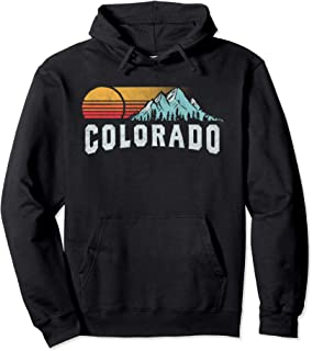 Retro Style Colorado Vintage Rocky Mountains & Sun Pullover Hoodie