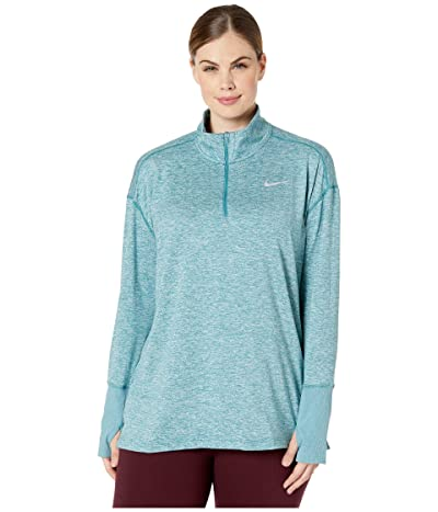 Nike Element 1/2 Zip Top (Sizes 1X-3X) (Mineral Teal/Heather/Reflective Silver) Women