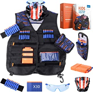 zizwe Kids Tactical Vest Kit for Nerf Guns N-Strike Elite Series with Tactical Mask, Reload Clips, Wrist Band, Dart Pouch,Safety Protective Glasses and Foam Bullets Darts for Boys (Black)