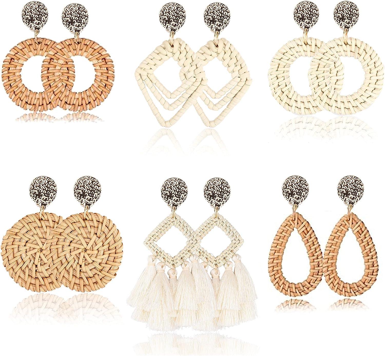 DOLOTTA 6Pairs Rattan Earrings Clip On Dangle Earrings for Women Lightweight Geometric Statement Tassel Woven Bohemian Straw Wicker Handmade Braid Clipon Earrings-Non Piercing Hoop Drop Earrings for Women