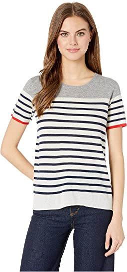 Cashmere Striped Short Sleeve Crew Top