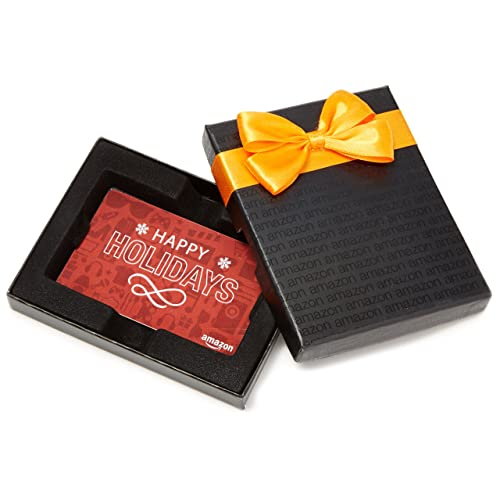 Amazon.com Gift Card in a Black Gift Box (Holiday Icons Card Design)