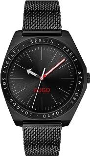 ساعة للرجال من هوغو بوس - مينا اسود اللون وسوار من الستانلس ستيل بطلاء اسود ايوني - 1530108