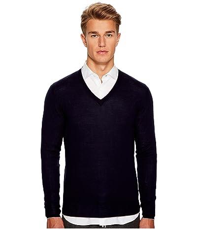 eleventy Fine Gauge V-Neck Sweater (Navy) Men