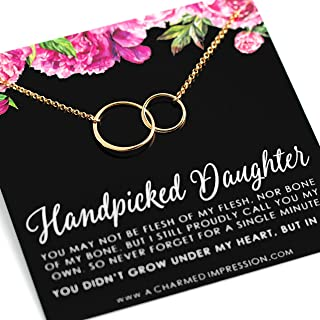 Handpicked Daughter • Jewelry Gifts for Adopted Child • Daughter Gift Necklace • From Mom Dad • Adoption Keepsake • 14k Gold • Double Eternity Circles • Unbiological Mother Father Gifts • Women Girls