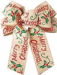Azude Burlap Christmas Bow Ribbon Christmas Tree Topper Decorations