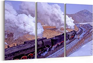 Steam Train Canvas Print Steam Train Canvas Art Steam Train Wall Art Canvas Multiple Sizes Gallery Wrapped Canvas on Pine Wooden Frame