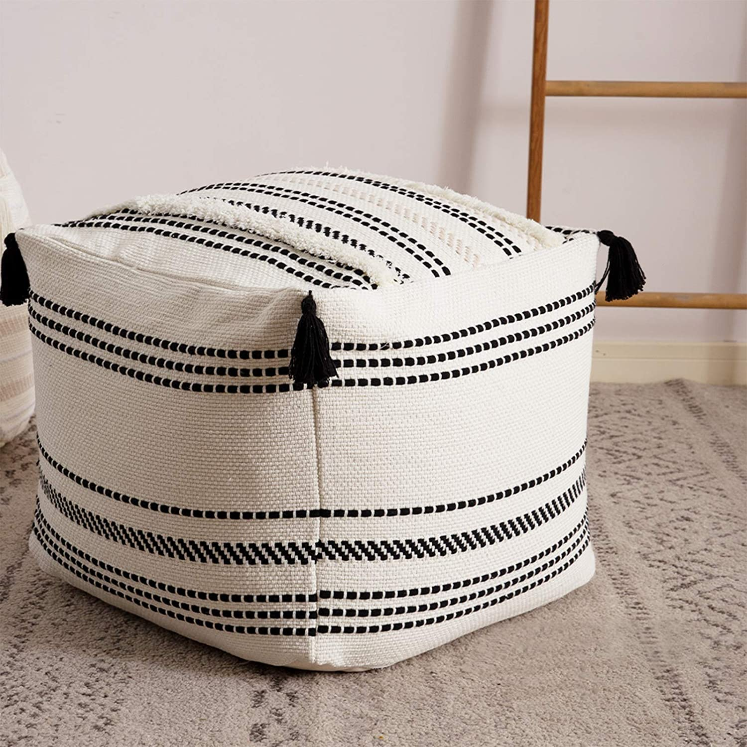Stripe Morocco Tufted Boho Decorative Unstuffed Pouf - Black Cream Casual Ottoman Pouf Cover with Big Tassels, Neutral Foot Rest/Cushion Cover ONLY for Bedroom Living Room, 18