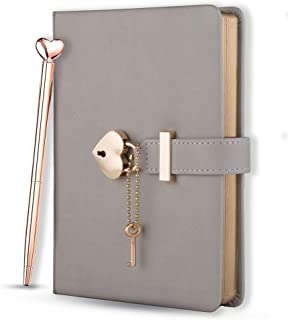 $29 » Poshieca Heart Shaped Lock Diary with Key PU Leather Cover Journal Personal Organizers Secret Notebook for Girls & Women B...