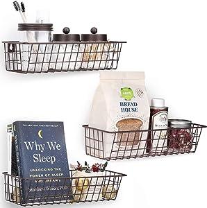 3 Set Hanging Wall Basket for Storage, Wall Mount Sturdy Steel Wire Baskets, Metal Hang Cabinet Bin for Organizer, Rustic Farmhouse Decor, Kitchen Bathroom Accessories Organizer, Brown, Medium
