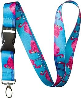 Animal Bug Themed Lanyard Key Chain ID Card Badge Holder (Flamingo)