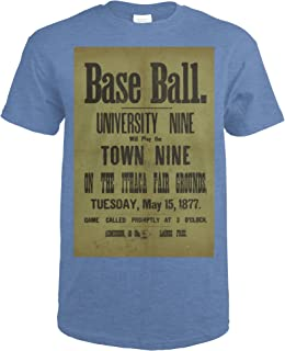 Base Ball - Cornell University and Town Vintage Poster USA c. 1877 63837 (Heather Royal T-Shirt XX-Large)
