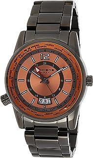 Akribos XXIV AK1021 Multifunction Men's Watch – Stainless Steel Link Bracelet – Global Time Bezel - 24 Hour - Sunburst Dial
