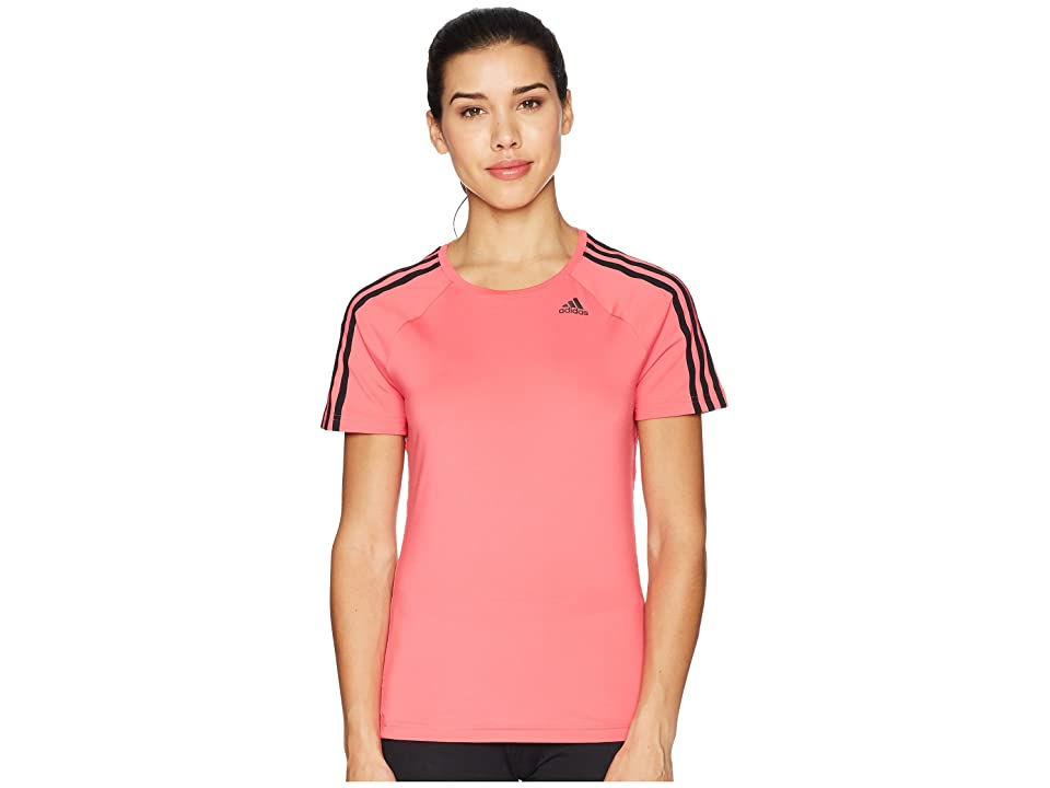 adidas D2M 3-Stripes Tee (Real Pink) Women