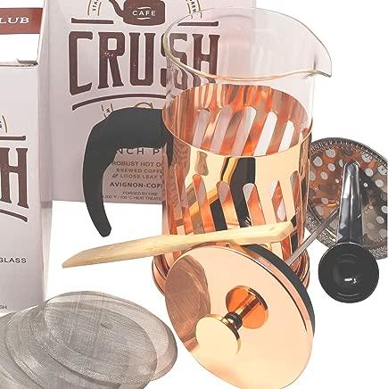 French Press Coffee Maker Thick Borosilicate Glass Bonuses; 34 Ounce | 1 Liter (Copper)