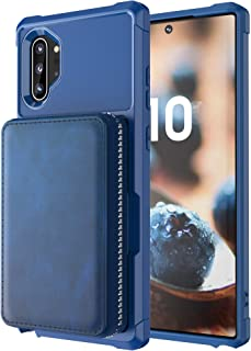 Note10+ 5G Case Samsung Galaxy,Wallet Blue Zipper Large Capacity Protective Cash Credit Card Holder Durable with Stand Cover Shell
