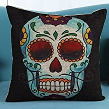 L&J.ART® 18'' Retro Vintage Mexican Day of the Dead Sugar Skull Black Linen Throw Pillow Case Cushion Cover NK6