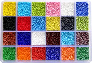 BALABEAD 24000pcs in Box 24 Multicolor Assortment 12/0 Glass Seed Beads Opaque Colors Seed Beads for for Jewelry Making, Size 2mm Beads, Hole 0.6-0.8mm (1000pcs/Color, 24 Colors)