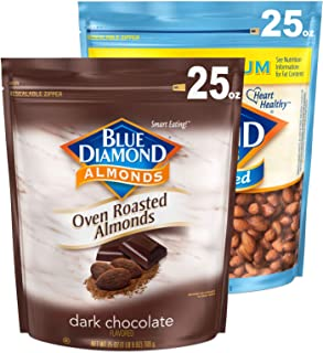 Blue Diamond Almonds Sweet and Savory Bundle, Cocoa Dusted Almonds and Lightly Salted, (2 - 25oz Bags)