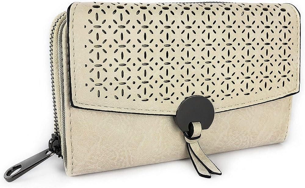 Eliox, porta carte di credito, portafoglio da donna, in pelle sintetica, beige