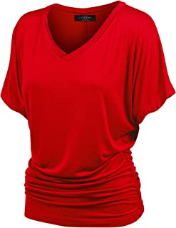 MBJ Women's Solid Short Sleeve Boat Neck V Neck Dolman Top with Side Shirring-Made in U.S.A.