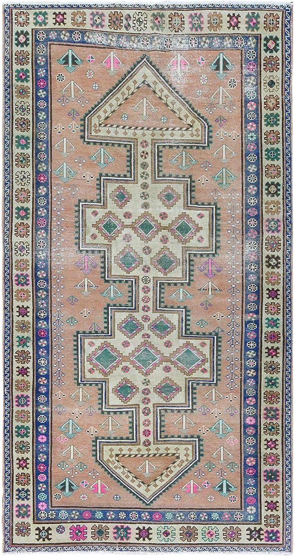 Shahbanu Rugs Old Peach Spasm price Geometric Design Hand Some reservation Kn Hamadan Persian