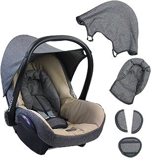 BAMBINIWELT Ersatzbezug für Maxi Cosi CabrioFix 6 tlg. GRAU/BEIGE, Bezug für Babyschale, Komplett Set XX