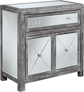 Convenience Concepts Gold Coast Vineyard Mirrored Hall Table, Weathered Gray / Mirror