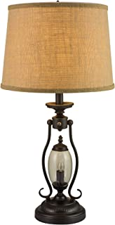 Fangio Lighting 1425 26.5-Inch Black Metal and Glass Table Lamp with 7W Night Light, Black