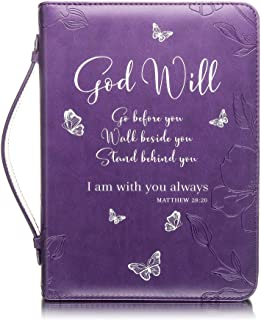 Bible Cover - Book Case in Purple With Butterflies -Fits Very Small Bibles & Books Up to 8 x 5 x 1.5 inches - Blessed - Pe...