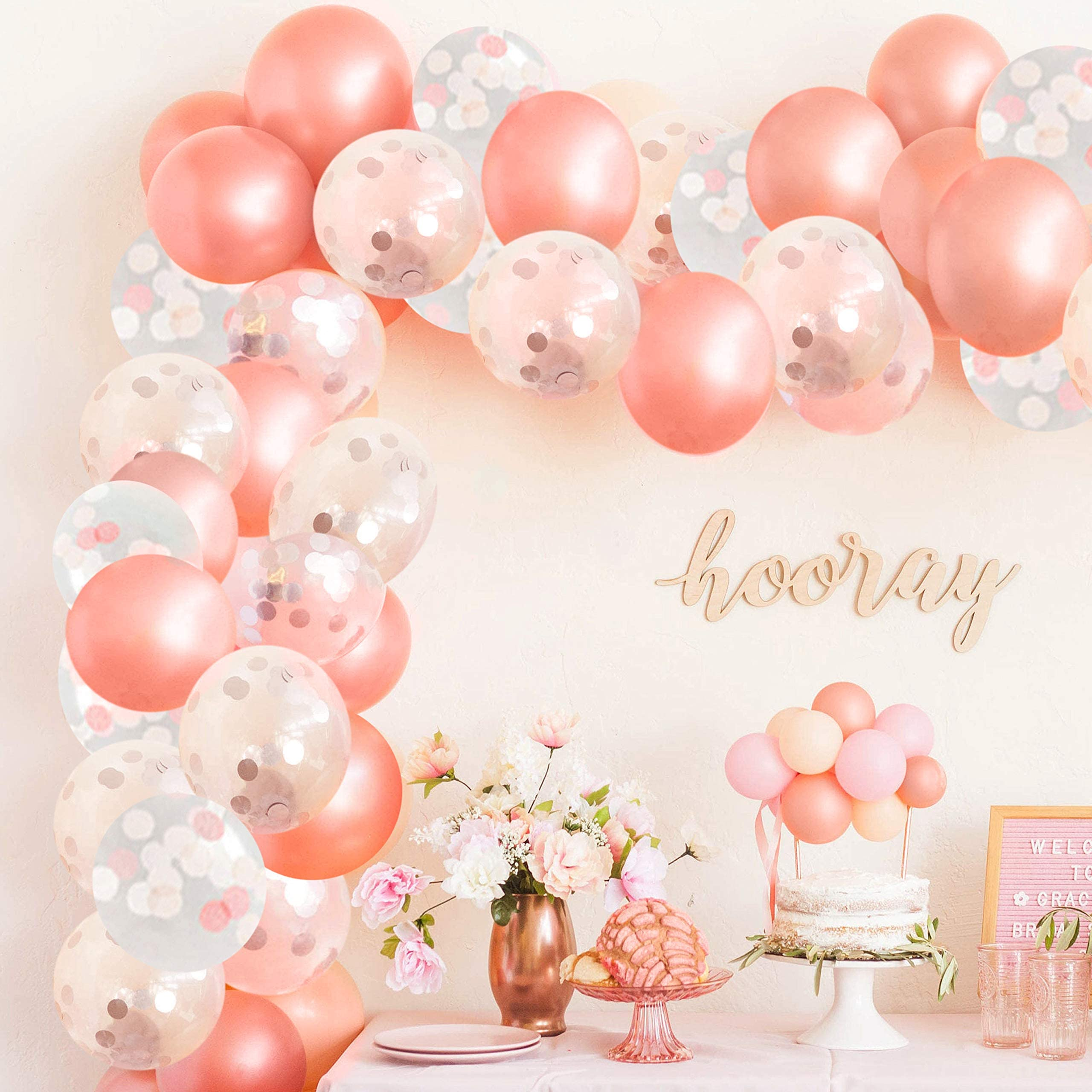1 Rose Gold /& Clear Gold Confetti Latex Balloon With Jumbo Rose Gold One ~First Birthday Rose Gold~1 Balloon~One Balloon~Rose Gold Balloon