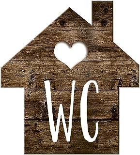 Logbuch-Verlag Wc-bord toiletbord houtlook huisjes bruin wit - schild toilet neutraal mannen & vrouwen gastentoilet deurbo...