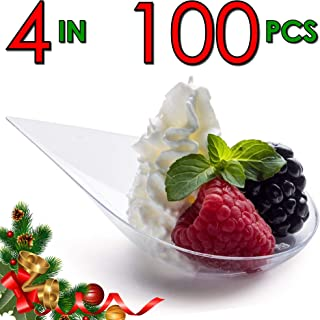 DLux 100 4-in Tear Drop Mini Appetizer Plates, Clear Plastic Spoons - Desserts and Appetizers Dishes Serving Plate - Disposable Asian Spoon Set, Small Catering Dessert Tasting Cups - with Recipe Ebook