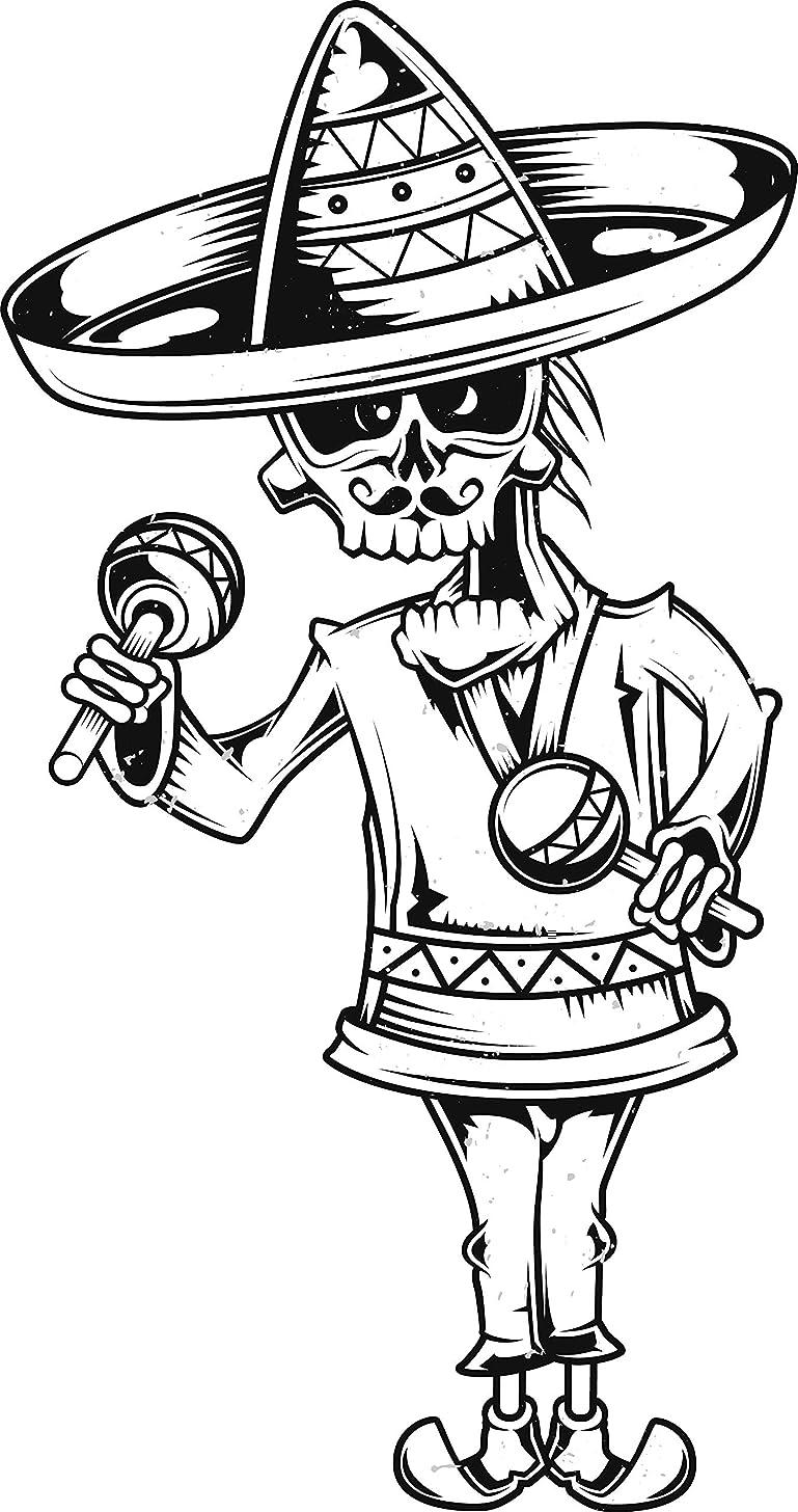 Skull Head Wearing Sombrero Maraca Mariachi Mustache Cartoon Vinyl Sticker (8